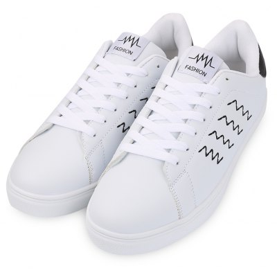 Buy WHITE AND BLACK 43 Lace Up Round Toe Male Breathable Sports Sneakers for $26.45 in GearBest store