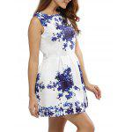 Vintage Round Collar Sleeveless Floral Print A-Line Women Mini Dress - BLEU