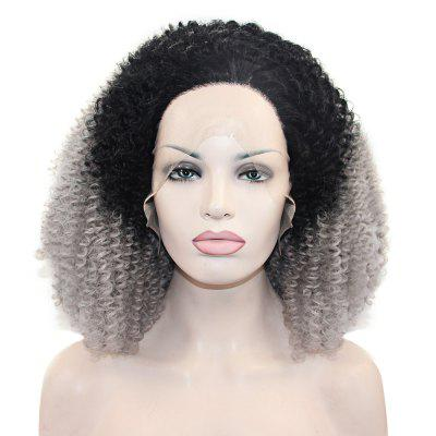 Ombre 2 Tone Dark Root 1B / Grey Kinky Curly Synthetic Lace Front Wig Soft Spiral Perms Hair