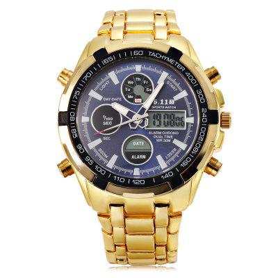 6.11 8128 Male Digital Quartz WatchSports Watches<br>6.11 8128 Male Digital Quartz Watch<br><br>Band Length: 8.27 inch<br>Band Material Type: Stainless Steel<br>Band Width: 20mm<br>Case material: Stainless Steel<br>Case Shape: Round<br>Clasp type: Folding Clasp<br>Dial Diameter: 1.77 inch<br>Dial Display: Analog-Digital<br>Dial Window Material Type: Glass<br>Feature: Luminous, Led Display, Day, Date, Chronograph, Back Light, Alarm<br>Gender: Men<br>Movement: Digital,Quartz<br>Package Contents: 1 x Watch<br>Package Size(L x W x H): 8.50 x 8.00 x 5.50 cm / 3.35 x 3.15 x 2.17 inches<br>Package weight: 0.229 kg<br>Product Size(L x W x H): 21.00 x 5.00 x 1.50 cm / 8.27 x 1.97 x 0.59 inches<br>Product weight: 0.172 kg<br>Style: Sport<br>Water Resistance Depth: 30m