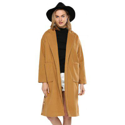 Turn Down Pocket Design Women Wool Coat