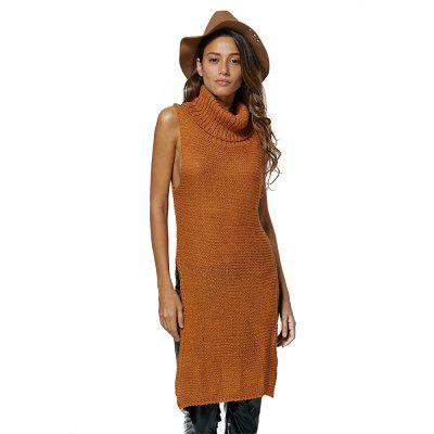 Women Simple Turtleneck Sleeveless Pure Color Sweater