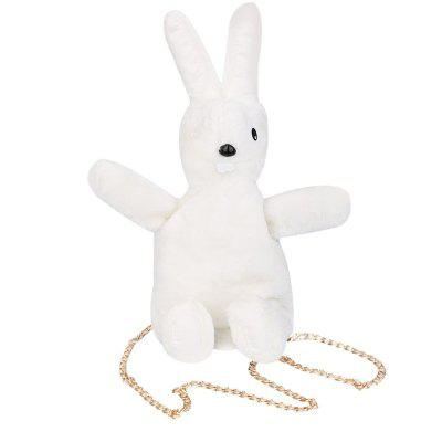 Cute Rabbit Pattern Pure Color Metal Chain Strap Bag