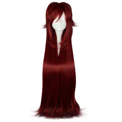 Long Side Bangs Red Cosplay Wigs 2 Layer Length