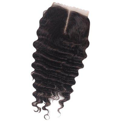 Brazilian Deep Wave Middle Part 4 x 4 Lace Closure 6A Virgin Human Hair