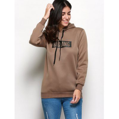 Stylish Hooded Long Sleeve Drawstring Letter Print Hoodie
