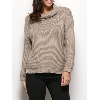 Turtleneck Long Sleeve Pure Color Knitted Sweater