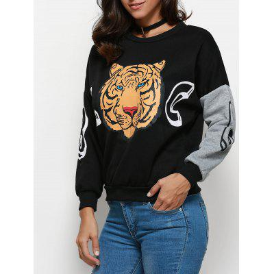 Stylish Round Collar Long Sleeve Tiger Print Pattern Blouse