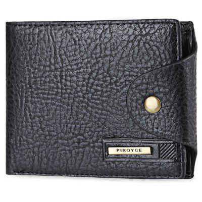 Men Letter Embellishment Solid Color Hasp Horizontal Wallet