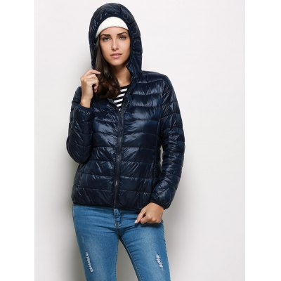Hooded Long Sleeve Pure Color Zipper Type Women Down Coat