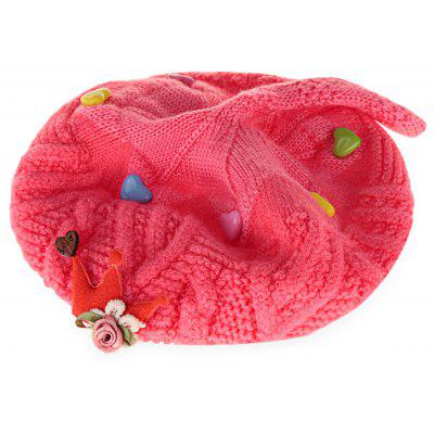 Cute Color Block Floral Print Baby Girls Soft Knitted Hat