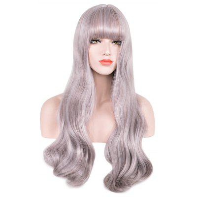 Soft Long Wavy Synthetic Hair Wigs with See-through Bangs