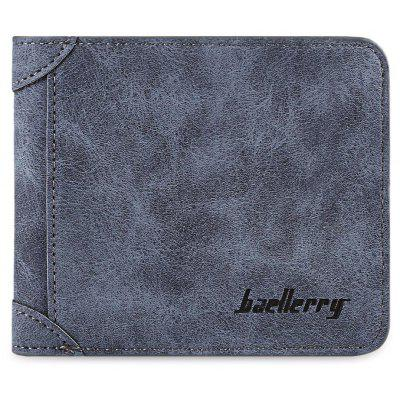 Men Solid Color Letter Embellishment Dull Polish Open Horizontal Wallet