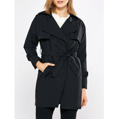 Turn Down Collar Pure Color Women Trench Coat