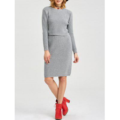Moda Round Collar Pure Color Knitted Women Twinset
