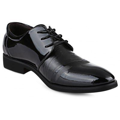 Pointed Toe Lace Up Pure Color Male Business Leather Shoes