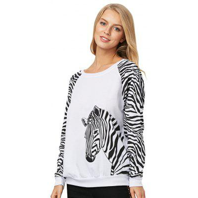 Trendy Long Sleeve Zebra Pattern Print Women Blouse