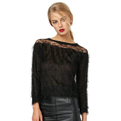 Stylish Lace Spliced Pure Color Women Blouse