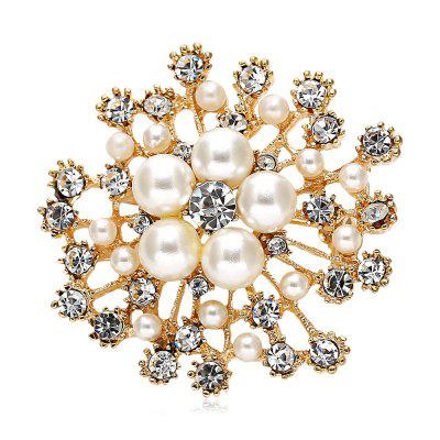 Buy GOLDEN Stylish Zircon Rhinestone Platinum Crystal Brooch for $2.36 in GearBest store