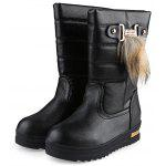 Buckle Fur Decoration Ladies Snow Boots - BLACK