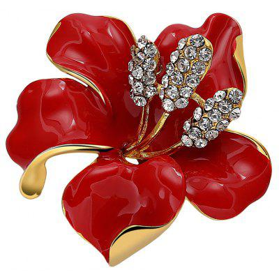 Rose Rhinestoned Platinum Plated Brooch