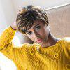 AISIHAIR Short Natural Straight Side Bangs Perruques synthétiques - NOIR ET OR
