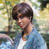 AISIHAIR Short Straight Mixed Colors Side Bangs Perruque synthétique - MULTICOLORE