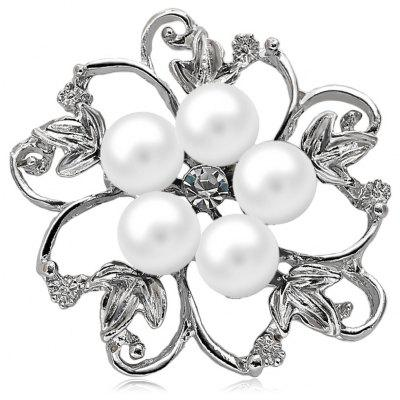 Fake Pearl Hollow Out Floral Brooch