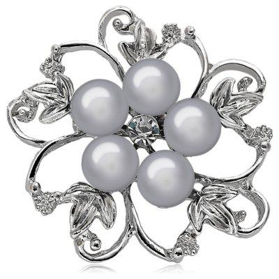 Fake Pearl Hollow Out Broche Floral