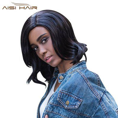 AISIHAIR Women Medium Big Wavy Side Parting Black Synthetic Wigs