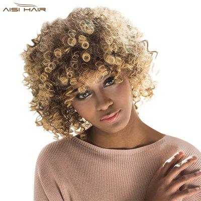 AISIHAIR Women Short Afro Curly Mixed Color Side Bang Towheaded Synthetic Hair Wigs