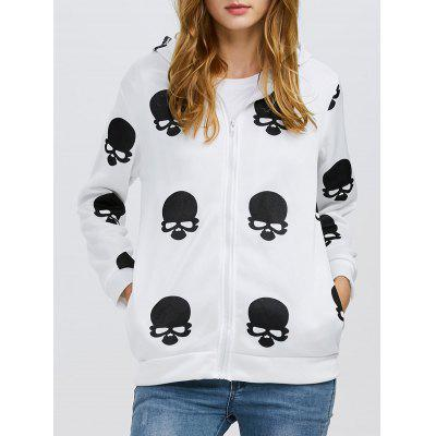 Hooded Long Sleeve Print Zipper Type Women Coat