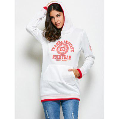 Hooded Long Sleeve Cute Pattern Print Drawstring White Hoodie