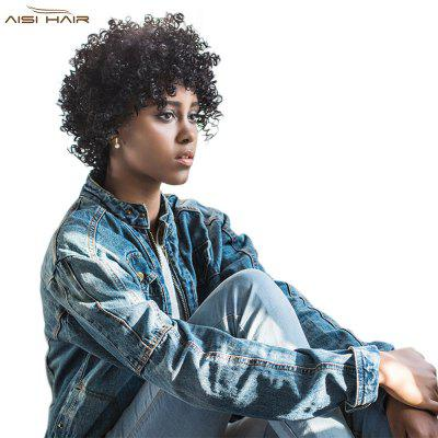 AISIHAIR Short Fluffy Black Afro Curly Synthetic Hair Wigs