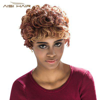 AISIHAIR Impresionante Short Curly Mixed Color Full Wigs