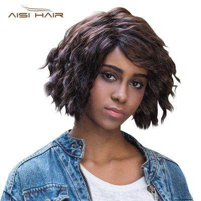 AISIHAIR Women Short Side Bangs Fluffy Ringlets Black Wigs