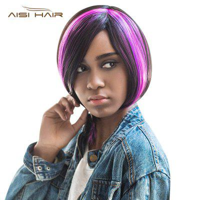 AISIHAIR Short Straight Side Bangs Highlights Black Purple Wigs for Women