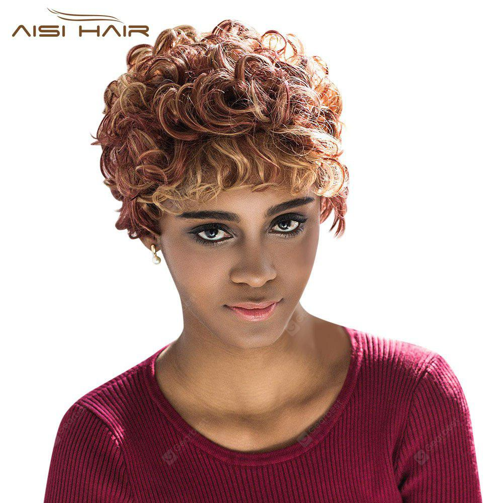 AISIHAIR Stunning Short Round Spray Mixed Color Full Wigs
