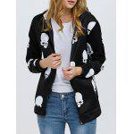 Trendy Print Zipper Type Coat for Ladies - NOIR