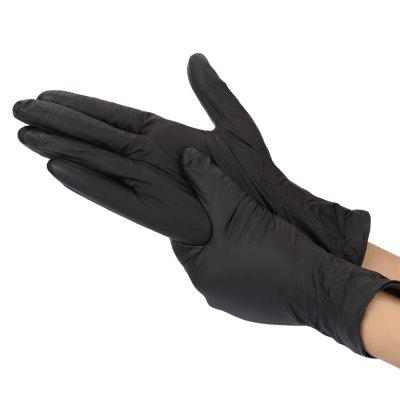 100pcs Disposable Black Nitrile Gloves