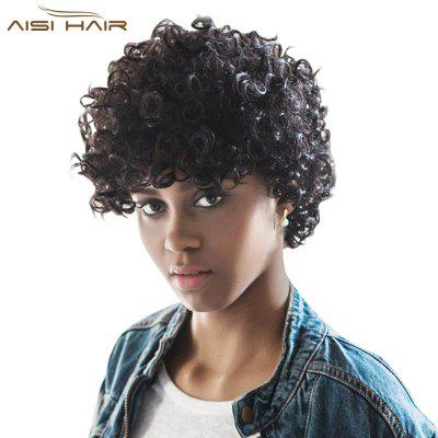 AISIHAIR Kinky Cute Short Natural Curly Black Wigs Afro Hairstyle