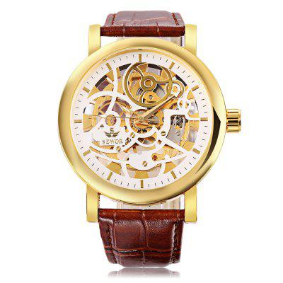 SEWOR SW086 Men Mechanical Hand Wind WatchMens Watches<br>SEWOR SW086 Men Mechanical Hand Wind Watch<br><br>Band Length: 8.46 inch<br>Band Material Type: Genuine Leather<br>Band Width: 20mm<br>Case material: Alloy<br>Case Shape: Round<br>Clasp type: Pin Buckle<br>Dial Diameter: 1.86 inch<br>Dial Display: Analog<br>Dial Window Material Type: Hardlex<br>Feature: Luminous<br>Gender: Men<br>Movement: Mechanical Hand Wind<br>Package Contents: 1 x Watch<br>Package Size(L x W x H): 27.50 x 6.00 x 2.00 cm / 10.83 x 2.36 x 0.79 inches<br>Package weight: 0.0990 kg<br>Product Size(L x W x H): 26.50 x 5.00 x 1.00 cm / 10.43 x 1.97 x 0.39 inches<br>Product weight: 0.0780 kg<br>Style: Business<br>Water Resistance Depth: 30m