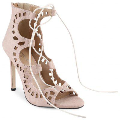 Hollow Lace Up Nubuck Leather Thin High Heel ShoesWomens Pumps<br>Hollow Lace Up Nubuck Leather Thin High Heel Shoes<br><br>Heel Height Range: High(3-3.99)<br>Heel Type: Stiletto Heel<br>Occasion: Casual<br>Outsole Material: Rubber<br>Package Contents: 1 x Pair of Women High Heel Shoes<br>Pumps Type: Ankle Strap<br>Season: Summer<br>Shoe Width: Medium(B/M)<br>Toe Shape: Round Toe<br>Toe Style: Open Toe<br>Upper Material: Suede<br>Weight: 0.409kg