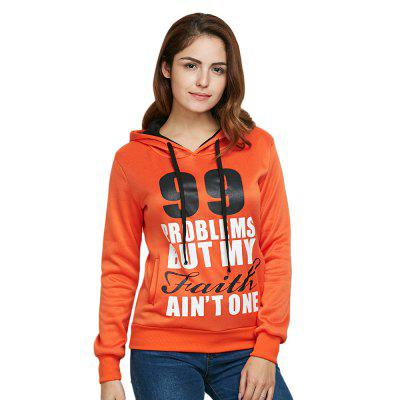 Casual Drawstring 99 Letter Print Women Orange Hoodie