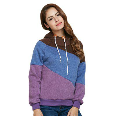 Trendy Drawstring Color Block Women Purple Hoodie