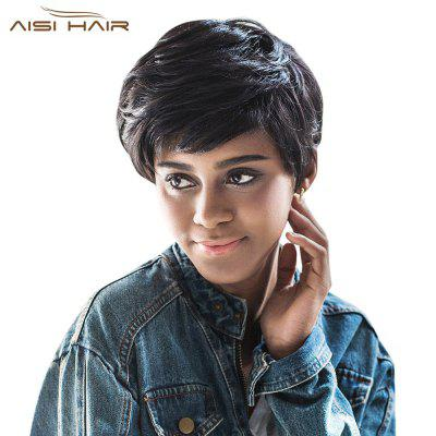 AISIHAIR Short Natural Straight Pixie Cutting Black Heat-resistant Synthetic Wigs for Women