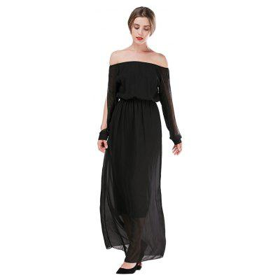 Long Sleeve Off The Shoulder Slit Design Chiffon Women Prom Dress