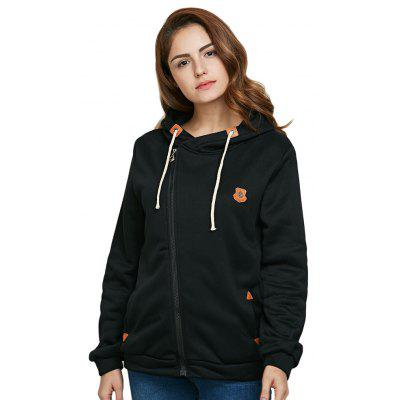 Hooded Long Sleeve Drawstring Zipper Type Women Coat