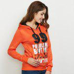 Casual Drawstring 99 Letter Print Women Orange Hoodie deal