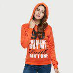 cheap Casual Drawstring 99 Letter Print Women Orange Hoodie